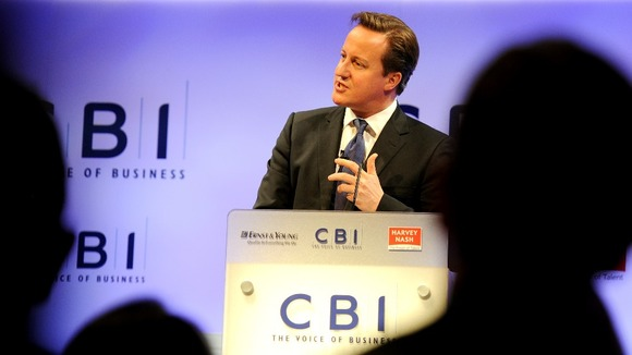 Prime Minister David Cameron at the CBI today. 