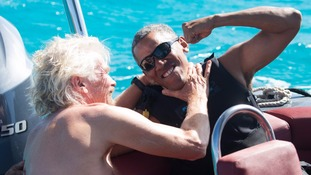 Barack Obama takes part in foilboarding challenge with Sir Richard Branson