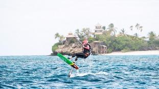 Barack Obama learned to kitesurf on holiday with Sir Richard Branson.