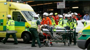 Paramedics remove injured from Kings Cross