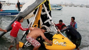 Microlight wreckage in Pattaya Bay, Thailand