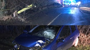 Driver gets a 'shock' after colliding with electric power line