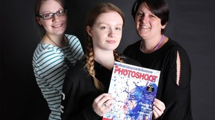 Photography students (L-R) Annabel Homewood, Rebecca Cox, and Sarah James with edition 18 of Photoshoot magazine
