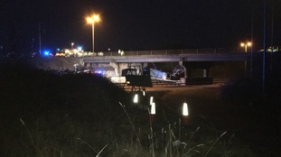 The scene of the lorry crash