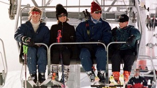 In Klosters, Switzerland, with sister Santa, Prince Charles, and a young Prince Harry in 1997