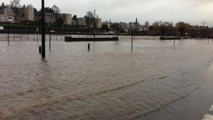 Flooding at Whitesands in Dumfries 