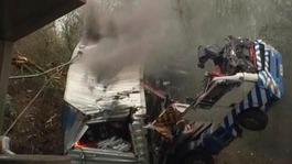 Lorry crashes off bridge and onto A12 in Essex