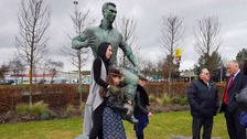 Jackie Milburn's grand-daughter and great grandchildren unveiled the statue outside of Ashington Leisure Centre