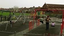 Children on swings.
