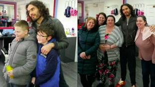 Russell Brand pops into Hartlepool hairdressers