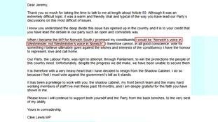 Clive Lewis' resignation letter.