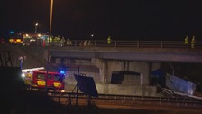 The lorry veered off a bridge on Wednesday.