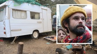 Cedric Herrou (inset, outside court today) houses migrants at his farm in France