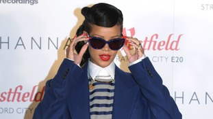 Rihanna pictured at a photo call before the event