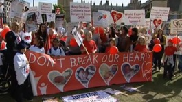 Hundreds march in support of threatened children's heart unit