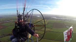 This Wales fan has shown his support 1,000 feet above Pembrokeshire