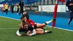 Michaela Staniford scores a try for England during the RBS Women's 6 Nations match