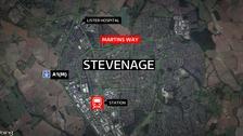 The crash happened last night in Stevenage.