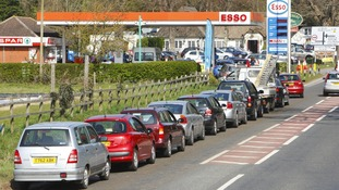 Tailbacks in Christchurch, Dorset as drivers queued for fuel.