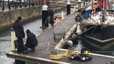 Police divers at Hartlepool marina
