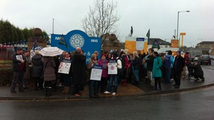 Hospital staff on Dewsbury picket line