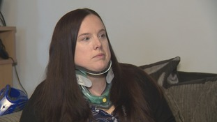 Debbie Rocke has to permanently wear a neck brace due to her condition