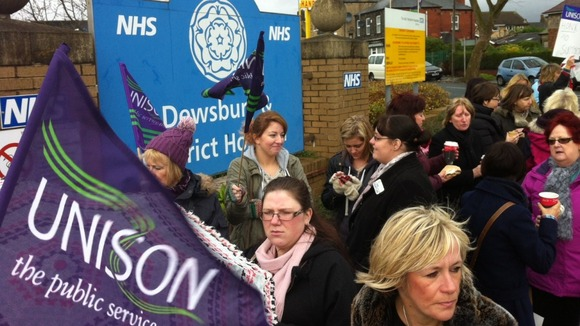 Staff protest outside Dewsbury Hospital