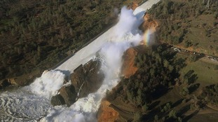 Water levels are high at the Oroville Dam following heavy rain