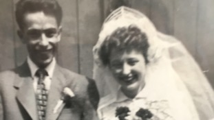 Tom and Barbara on their wedding day