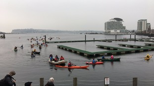 Rafters and swimmers stage 'mass paddle' at Cardiff Bay