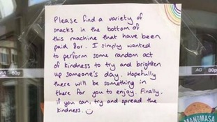 Kind-hearted stranger leaves note and snacks at hospital