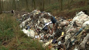 Around 100 metres of rubbish has been dumped in this country lane near Stoke.