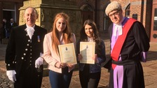 Imogen Greenoff and Amy Bonner with awards presented by High Sheriff of Cumbria The Reverend Richard Lee and Judge Peter Davies