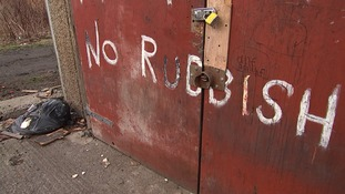 A message left by angry residents to fly-tippers in north Manchester.