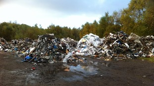 Mountains of waste in Huncoat, Lancashire.