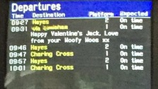 Passengers share romantic messages on Valentine's Day