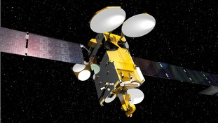 An artists impression of the satellite in space.