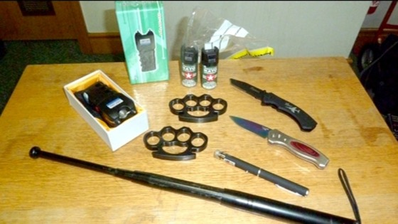 A number of weapons were seized by the Border Agency at Newcastle Airport