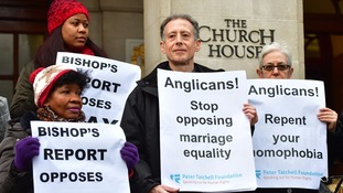 Peter Tatchell (second right) joins activists from the Lesbian and Gay Christian Movement outside the General Synod.