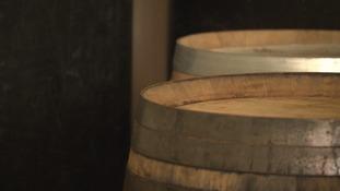 The barrels at the distillery
