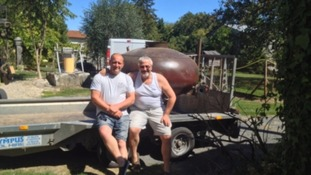 Greg and Simon collecting the old still