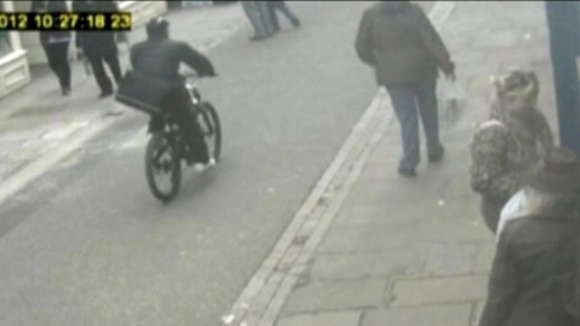 James Allen was caught on CCTV cycling away from the murder with a stolen laptop