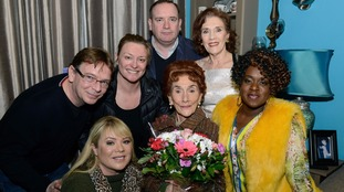Adam Woodyatt, Letitia Dean, Laurie Brett, Sean O'Connor, Linda Marlowe and Tameka Empson with June Brown.