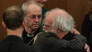Rt Rev Justin Welby and Dr Rowan Williams pictured after the result