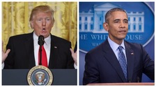 Donald Trump speaks during the press conference (left), and Barack Obama during his time as president