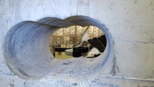 A hole in the wall of the Hatton Garden vault.
