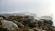 Pennine areas will be quite cloudy this weekend. Here's a misty day at Froggatt Edge in the Peak District.