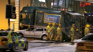 Clarke blacked out behind the wheel of the bin lorry