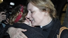 Reverend Marie-Elsa Bragg and Angie Nutt hug after the vote for women bishops failed