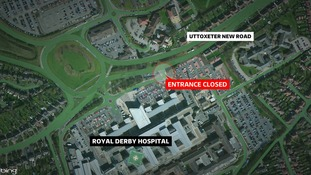 The eastern entrance to the Royal Derby Hospital is closed